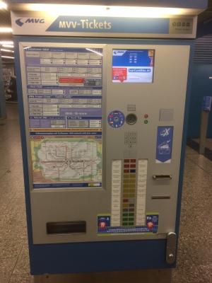 Máquina de bilhetes do metrô de Munique
