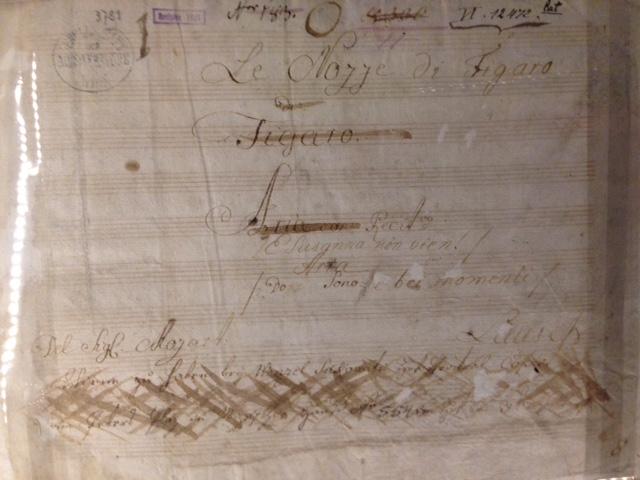"Partitura original de ""Le Figaro"", de Mozart"