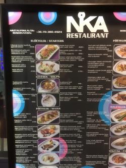 Cardápio do Nika Restaurant - Budapeste-Hungria