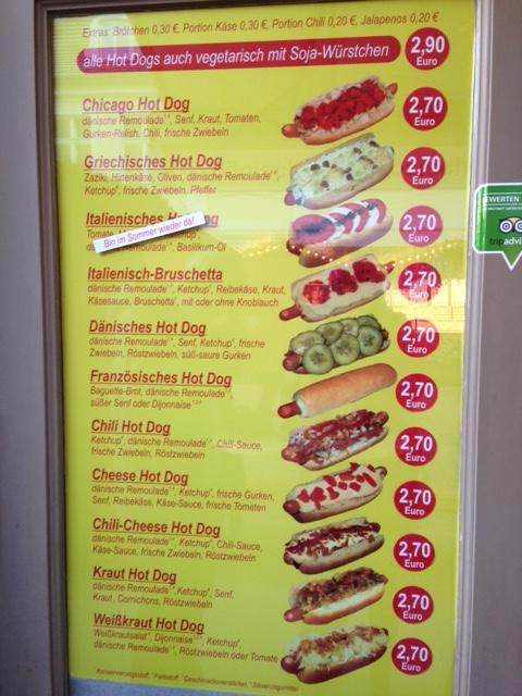 O menu do Melhor Hot Dog de Potsdam
